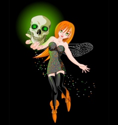 Flaying witch vector