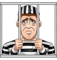 Sad prisoner behind bars vector