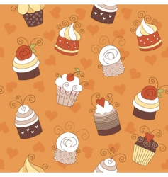 Seamless pattern with cute cup vector