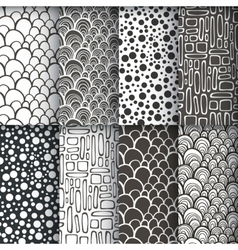 Black and white geometric seamless patterns se vector