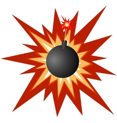Bomb with a burning fuse vector