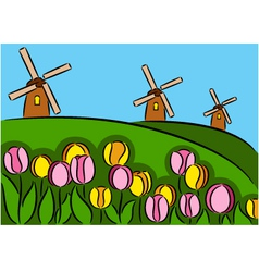 Windmill and tulips vector
