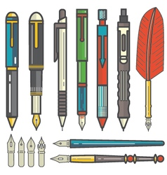 Mechanical pencils pens and nibs set vector