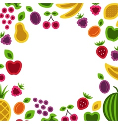 Fruits and berries frame composition vector