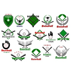 Baseball emblems or logo with game equipments vector