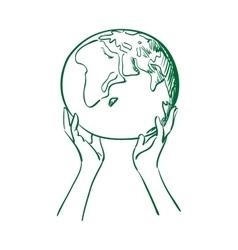 Doodle globe in women hands vector