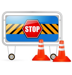 Traffic barrier stop sign with red cones vector