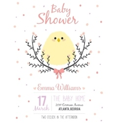 Romantic baby shower card for little girl vector