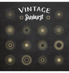 Vintage sunburst on chalkboard background vector