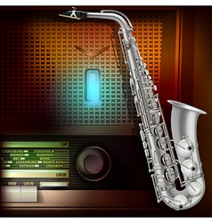 Abstract music background with saxophone and retro vector