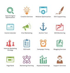 Seo and internet marketing colored icons- set 5 vector
