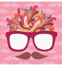 Cute cartoon doodle hipster glasses and mustache vector