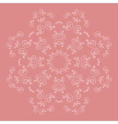 Ornate flower pattern on pink background vector
