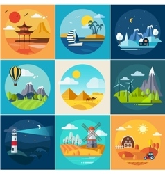 Set of different landscapes in the flat style vector