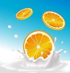 Splash of milk with orange fruit - with blue vector