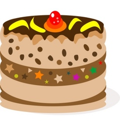 Celebratory chocolate cake with bananas vector