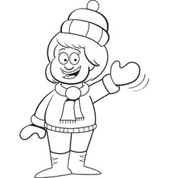 Cartoon girl in winter clothing waving vector