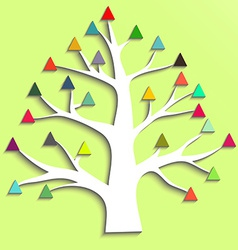 Abstract tree with colorful triangular leaves vector
