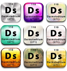 A periodic table button showing darmstadtium vector
