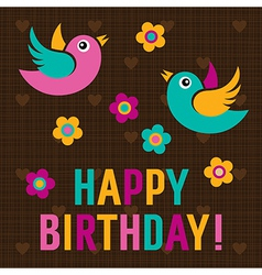 Happy birthday card with cute birds vector