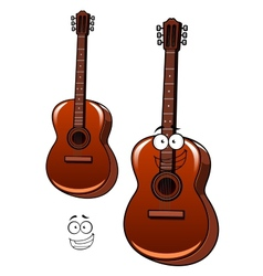 Classical acoustic guitar cartoon character vector