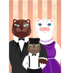 Cats family portrait vector