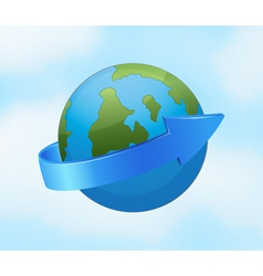 Earth globe and arrow vector