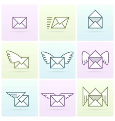 Flying email messages icon set vector