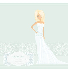 Beautiful blond bride card vector