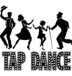 Tap dance silhouette banner vector