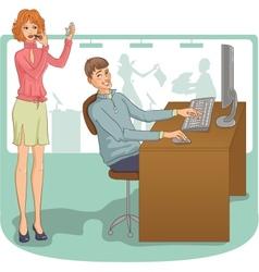 Flirt at work vector