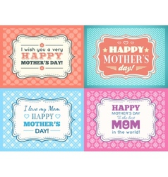 Happy mothers day card set typography letter font vector
