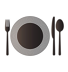 Plate knife spoon and fork vector