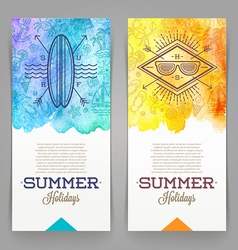 Summer holidays and travel banners with line vector