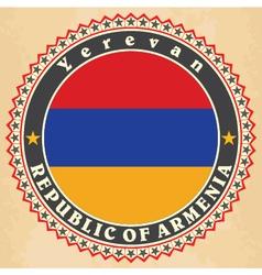 Vintage label cards of armenia flag vector