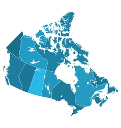 Canada regions map vector
