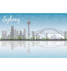 Sydney city skyline with blue sky vector