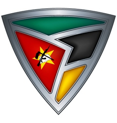 Steel shield with flag mozambique vector