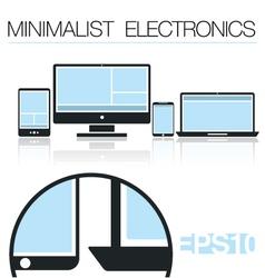 Minimalist electronic devices set vector