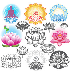 Set of lotuses and esoteric symbols vector