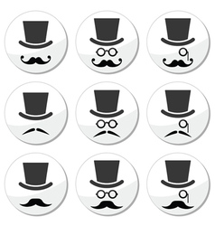 Mustache or moustache with hat and glasses icons vector