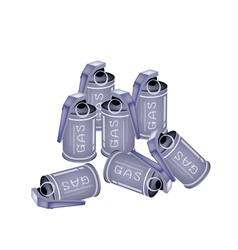 Stack of tear gas grenades on white background vector