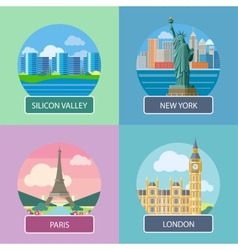 London silicon valley new york and paris vector