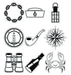 Nautical elements 4 sticker style vector