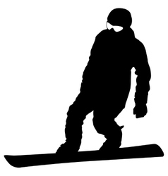 Black silhouette snowboarder on white background vector