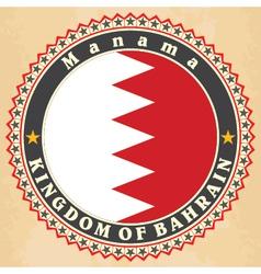 Vintage label cards of bahrain flag vector