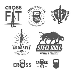Set of vintage fitness emblems and design elements vector