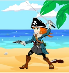 Pirate girl on the beach vector