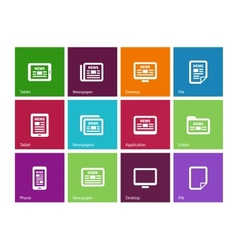Newspaper icons on color background vector