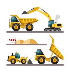 Set of building machines excavator truck loader vector